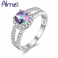 Almei Ring Silver Color Fashion Crystal With White Big Stone Rainbow Mystic Rings For Women Bridal