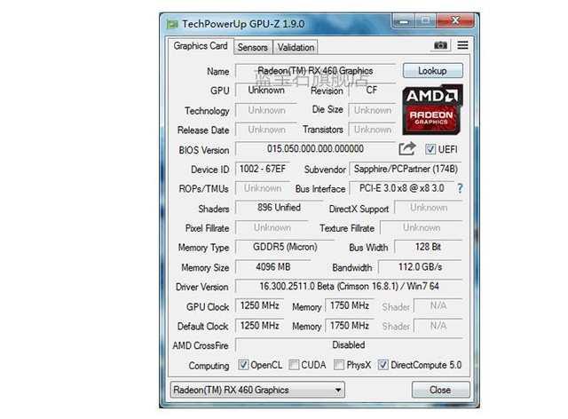 Sapphire Nitro OC Radeon RX 460 4G graphics card RX460 4G DDR5 video