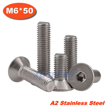 100pcs/lot DIN7991 M6*50 Stainless Steel A2 Flat Socket Head Cap Screw