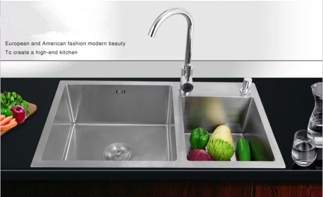 Modern design 304 stainless steel handmade kitchen sink / 4MM ...