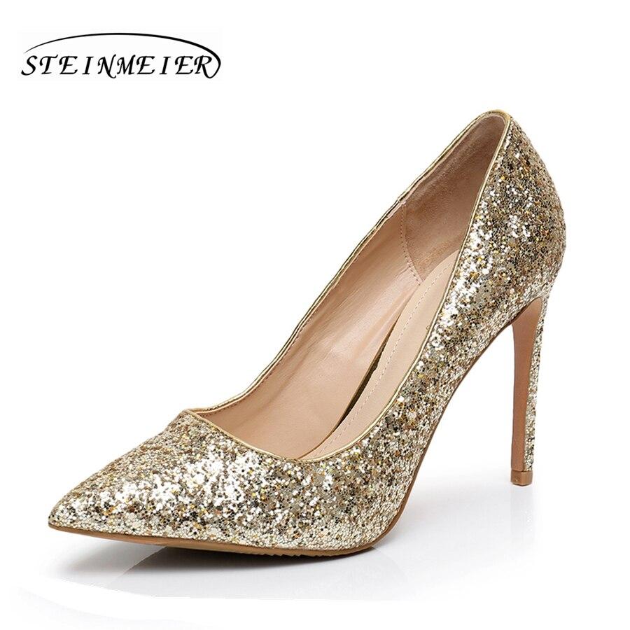 women high quality gold high heels shoes sexy nightclub shallow thin heel 105cm 85cm womens silver wedding shoes