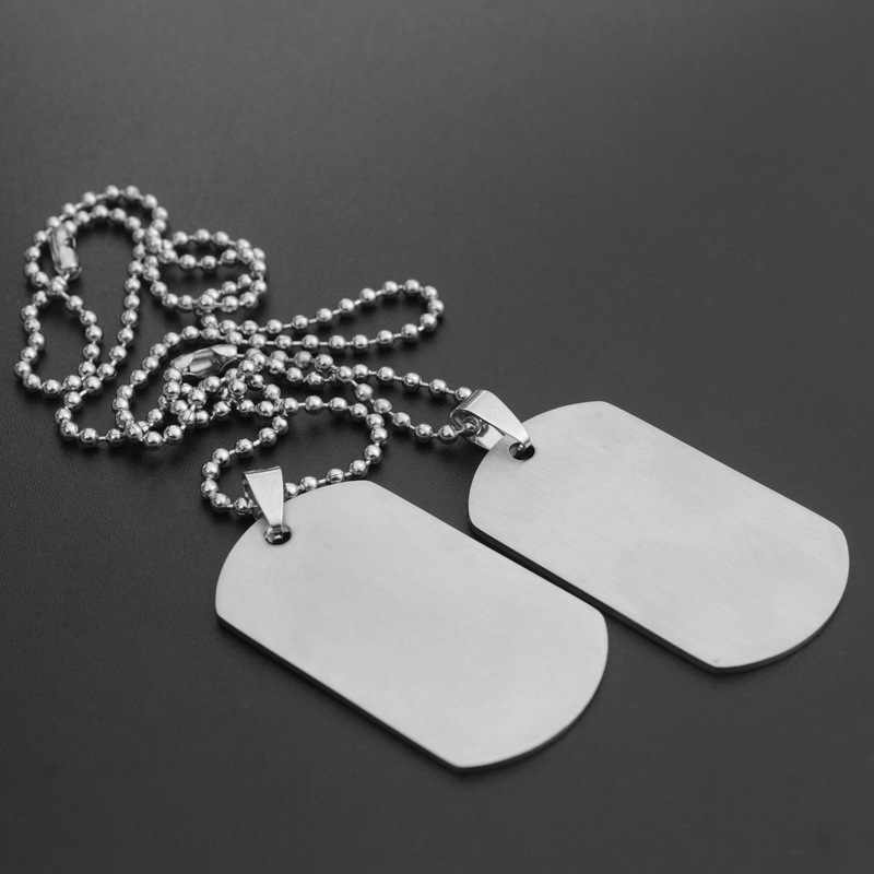 1 set Leger Tag Badge Naam Dog Tag Hanger Man Chain ketting Zilver Kleur Rvs Choker Charm Vrouwen Sieraden Gift N46