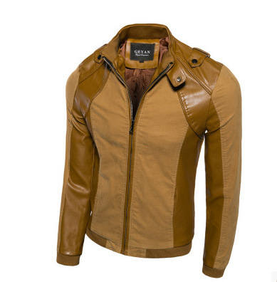 The new 2016 Men's cultivate one's morality PU leather jacket Big yards men maneuvering leather stitching leather