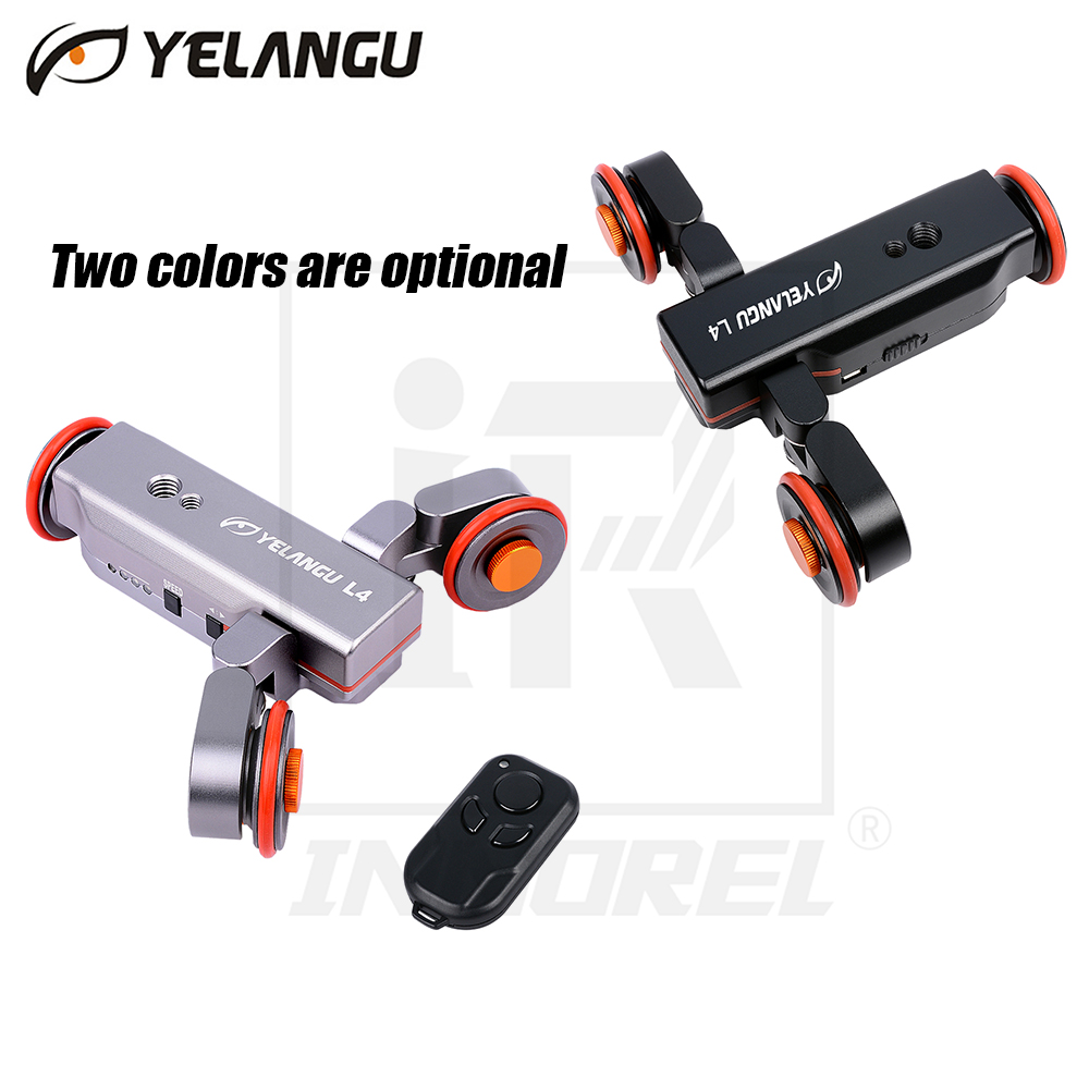 YELANGU L4 NEW Electric Video Car Motorized DSLR Dolly Track Slider Skater With Remote Control for Youtube Vlogging Phone camera