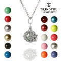 TRENDYOU Harmony Bola Pregnancy Chime Ball Pigeon Peace Sign Cage Box Pendant Necklaces, With Brass Bell Beads, Long Rolo Chain