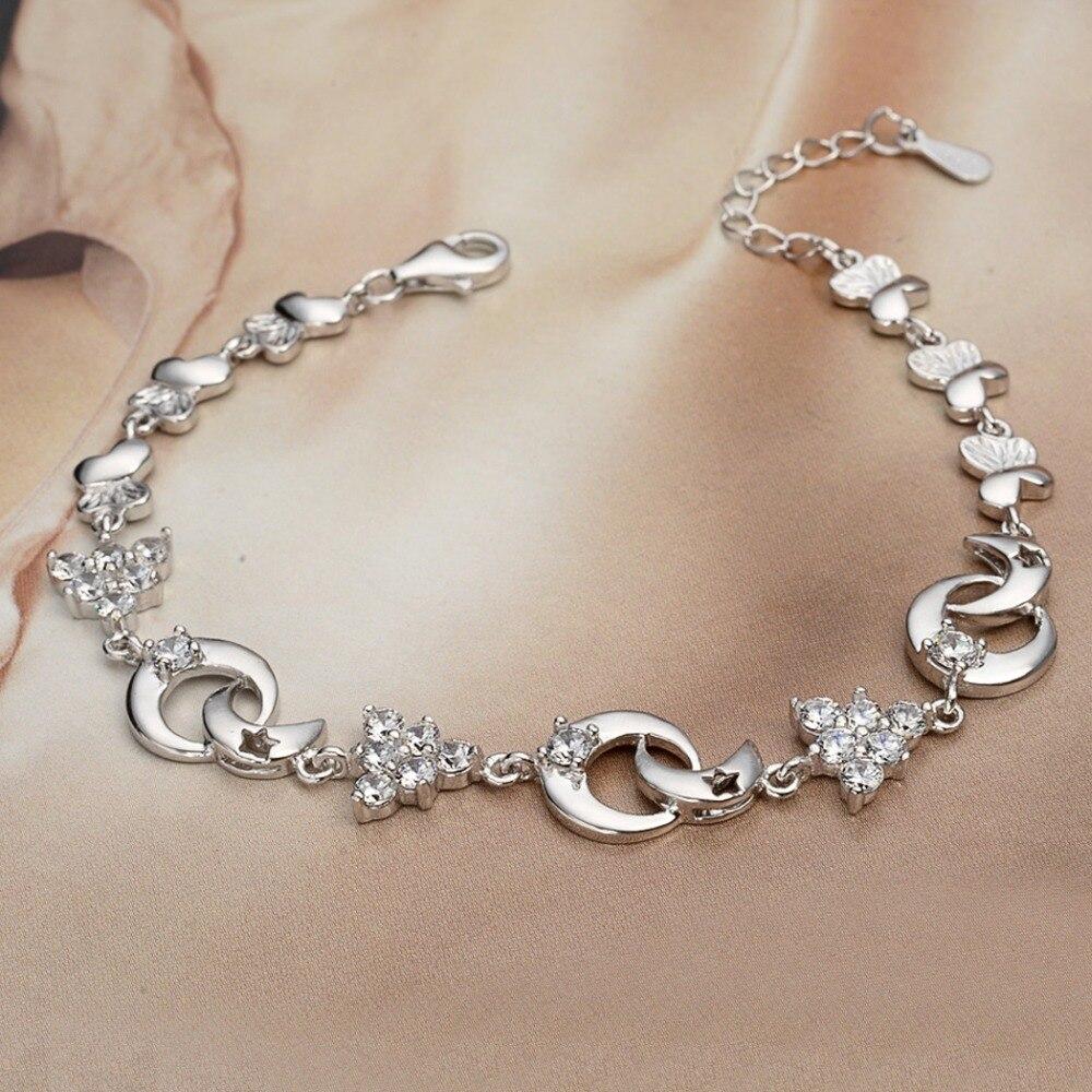 ⊰Bella moda 925 plata esterlina Navidad árbol y Luna pulsera claro ...