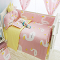 Common Printing Pink Swan Pattern Bed Set In a Cot, Multi Size Crib Bumper Set, Baby Bedding Bumpers Kit For Cots For Babies
