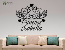 YOYOYU Wall Decal Princess Crown Personalized Name Vinyl Stickers For Girls Bedroom Baby Nursery Interior Home Decor Mural SY728