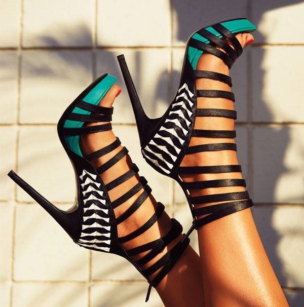 summer multi cross straps stiletto heel sandals fashion contrast color ankle wrap back zipper cut-outs high heel sandals