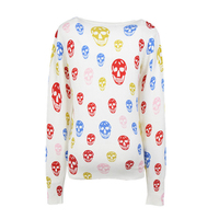 LASPERAL Colorful Skull Printed Cardigan 2017 Spring Autumn New Women Coats Casual Long Sleeve V Neck
