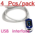 4ps/LOT CMS 50D + plus CE color USB port software Medical Fingertip Pulse Oximeter, Blood Oxygen SpO2 saturation monitor