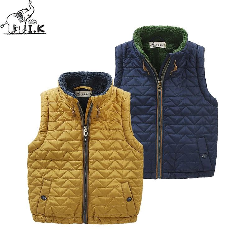 I.K Boys warm fleece vest Kidzipper Quilted waistcoat children fashion sleeveless coat MJ25017 Winter new arrival Christmas Gift