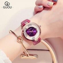 Lujo Brillante Rhinestone GUOU Marca mujer reloj Casual Ladies Relojes Del Cuarzo de Regalo de Las Mujeres de Moda de Cuero Relojes montre femme