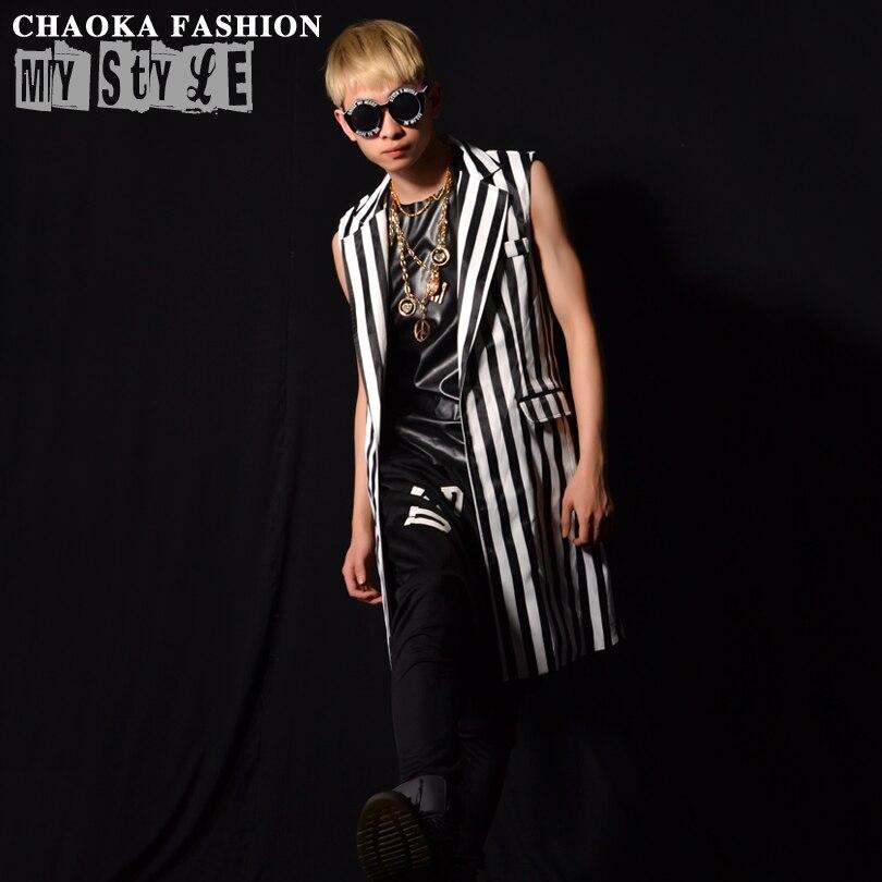 2018 new Black and white striped tide fashion long vest hairdresser casual vest coat stage nightclub bar singer costume