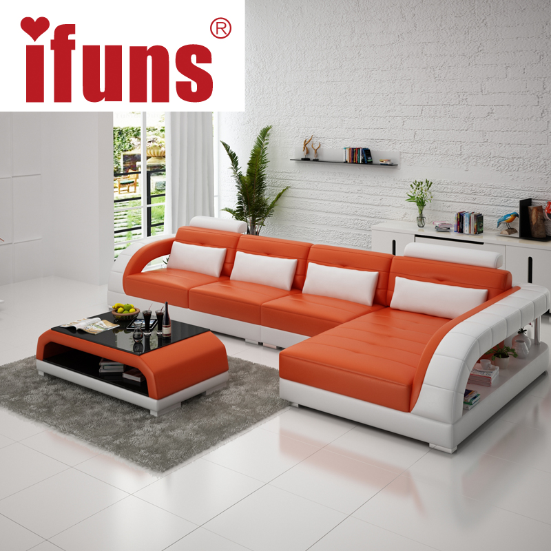 IFUNS new classical white leather sofa set american style l shape ...