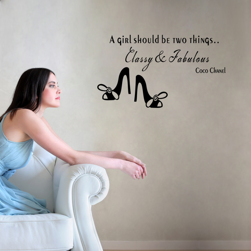 a girl should be two things classy and fabulous inspirational quote wall art stickers for home decor removable decals diy vinyl