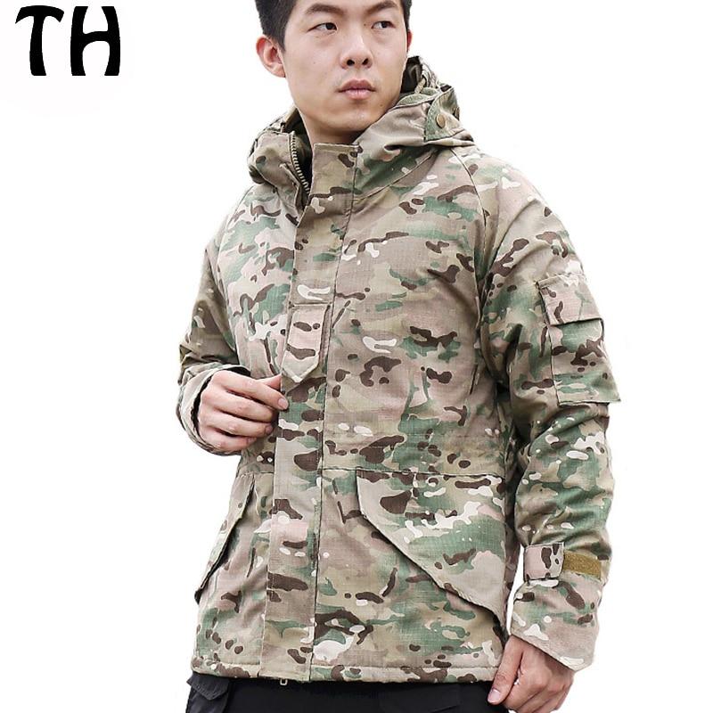 ФОТО Anti-wear Waterproof Thermal Fleece Winter Jackets Men Coats Python Camouflage Military Tactical Jacket #170214
