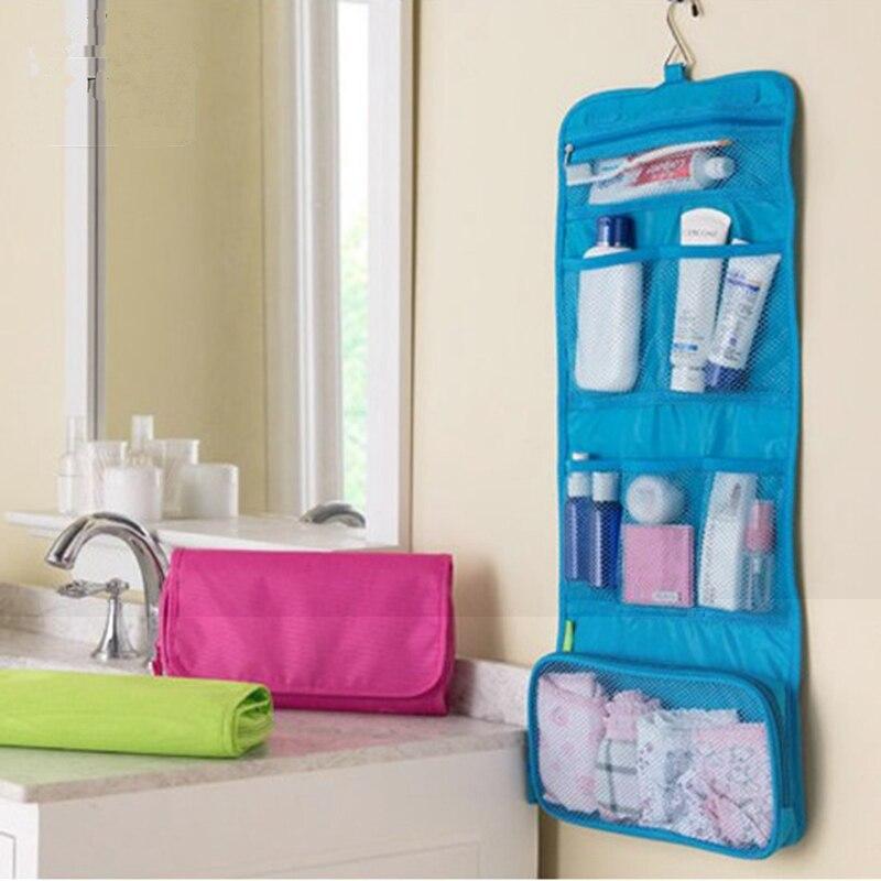 Portable Hanging Travel Cosmetic Bag Women Foldable functional Makeup Case Organizer Storage Make Up Bag Toiletry Kit Wash Bags(China)