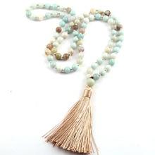 Free Shipping Fashion Natural Semi Precious Stones Bohemian Tribal Jewelry Women Ethnic Tassel Necklace