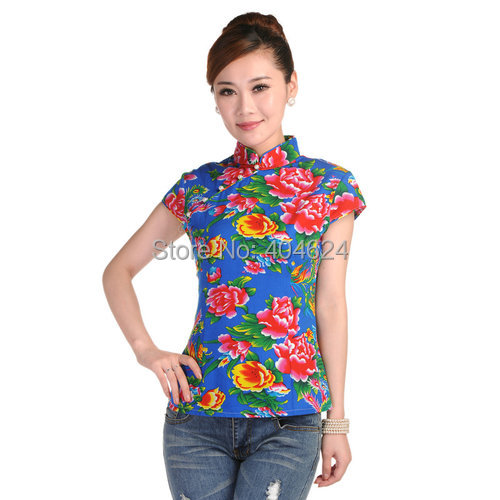 Dropshipping!Floral 2016 Cheongsam Blouse Summer Qiapao One-piece Dress Short Design Fashion Vintage 100% Cotton Tang Suit Tops