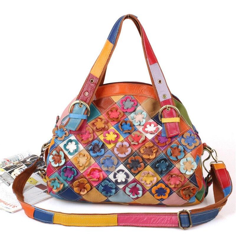 Caerlif 2019 national wind Genuine Leather Bags Women s flowers Bag Messenger Bag handbag female clutch