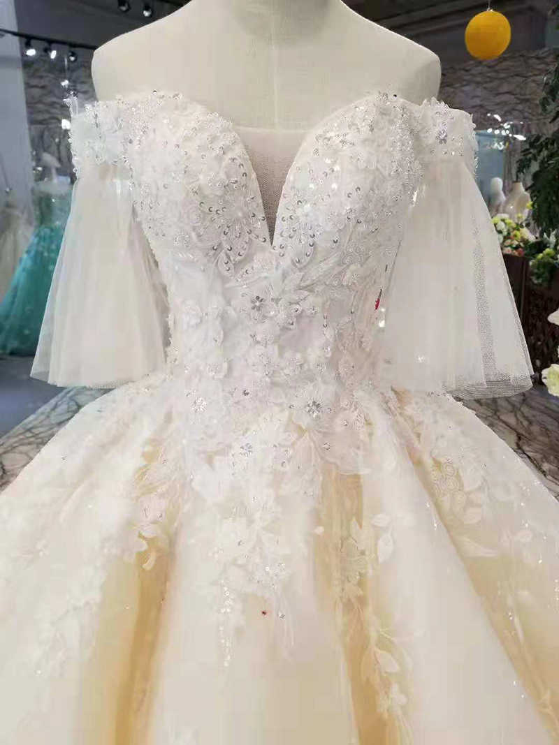 LS11087 אור שמפניה חתונה שמלות flare חצי שרוולים מתוקה תחרה עד בחזרה חתונת שמלות כדור שמלת ממפעל אמיתי