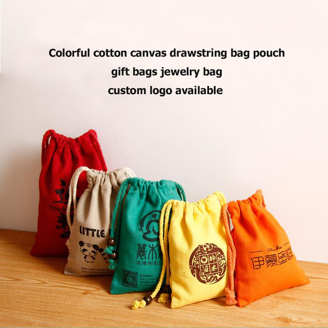 W18 X H24cm Natural Cotton Canvas Promotional Bag Drawstring Gift Pouch Jewelry Tea