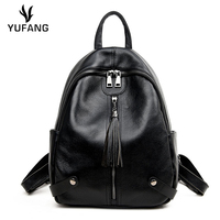 YUFANG Natural Cowhide Women Backpack Genuine Leather Female Travel Bag Young Girl School Bag Students Fashion Shoulder Bag Lady
