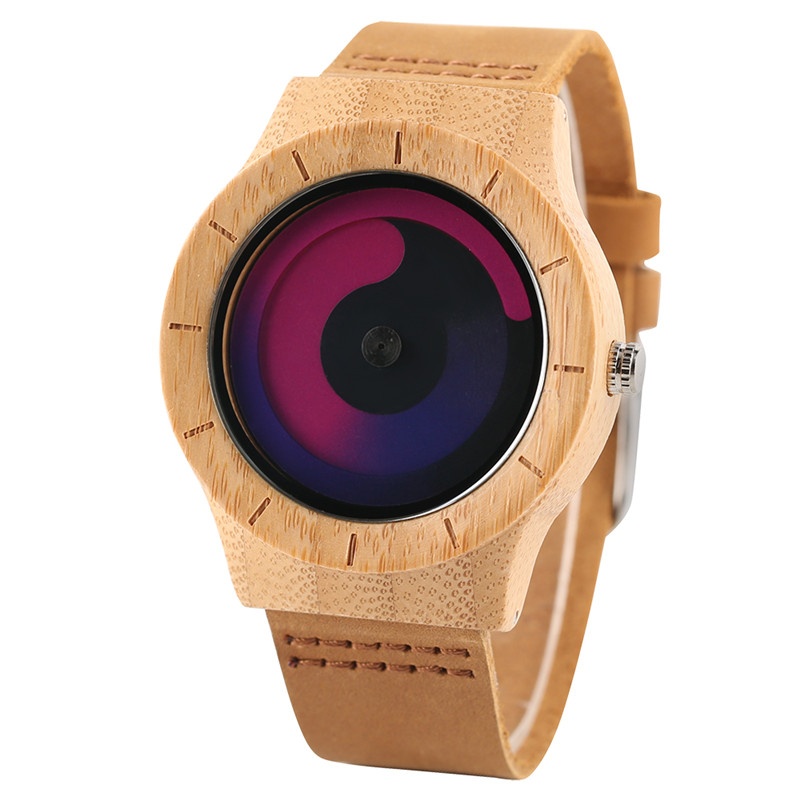 Casual Men Women Wooden Watch Novel Vortex Non-pointer Sport Bamboo Wristwatch Geek Concept Young People Wood Clock Cool Gifts (17)