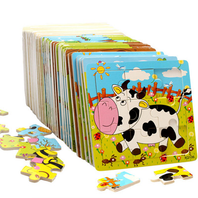 Hot Wooden Jigsaw Puzzle Animal Transportation Tool Kids Educational Game Toys for Children