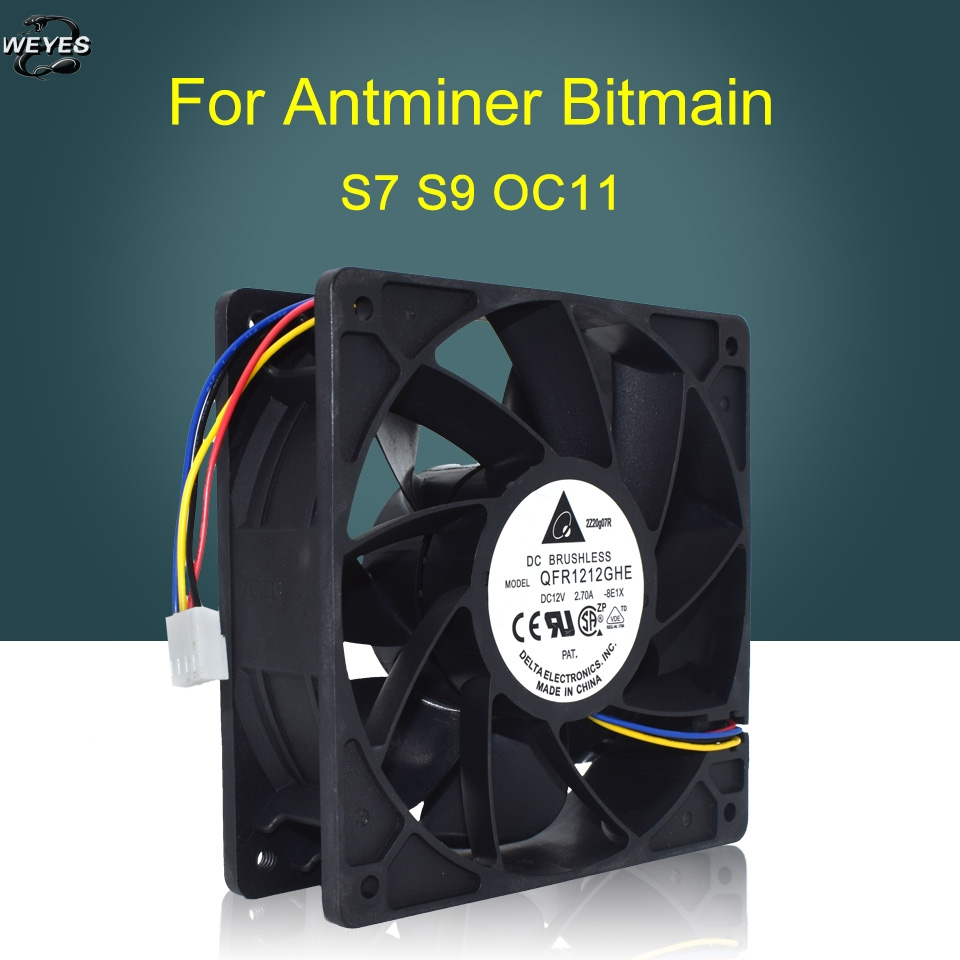 Cooling Fan QFR1212GHE For Antminer Bitmain S7 S9 OC11 Replacement 4-pin Connector 12V 2.70A 12038 12CM well tested free delivery 4e 115b fan 12038 iron leaf high temperature cooling fan 12cm
