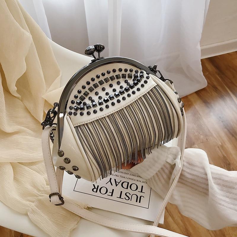 2019 Vintage Bag Chain Women Handbag Wood Clip Evening Bag Pu Leather Banquet Party Purse Luxury Shoulder Crossbody Bag