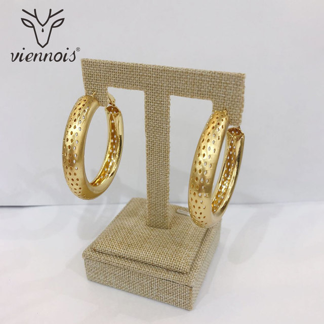 Viennois Rose Gold Silver Gold Color Big Hoop Earrings for Women Round Hollow  Earrings e4cb8d1d21b4