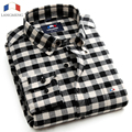Langmeng 2016 Good Quality new hot Sale Casual men shirt long sleeve Plaid Flannel Shirts 100% Cotton Spring Autumn Male shirts