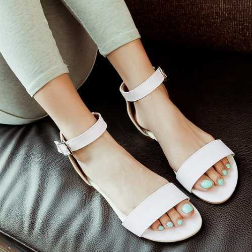 8bbe16e24ceafb Fashion Ankle Strap Belt Buckle Sandals Open Toe Less Platform Sandals  Cover Heel Solid Sweet Cute Shoes-in Women s Sandals from Shoes on  Aliexpress.com ...