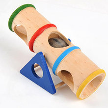 2017 High Quality Wood Rainbow Upturned barrel Hamster Toy Pet Supplies Wooden Porous Design Hamster Product Home Accessories