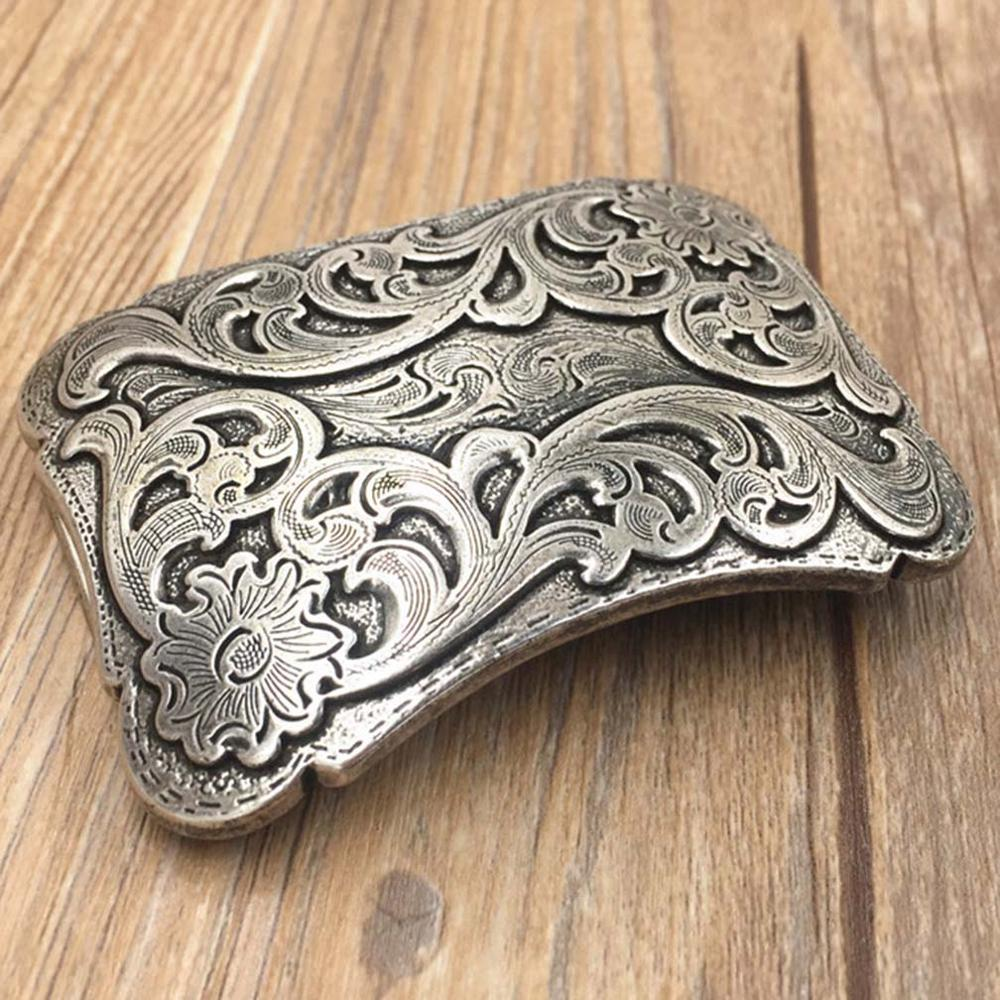 CUKUP Brand Belts Chinese Floral Styles Pattern Buckle DIY Solid Electroplated Sliver Brass Belt Buckles New Design BRK024
