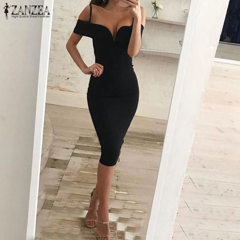 2018 Summer ZANZEA Women Solid Slim Fit Dress Slash Neck Off Shoulder Femme Sundress Casual Party Club Bodycon Midi Vestido