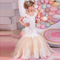 Sereia Laço Vestidos Da Menina de Flor para Casamentos 2017 Champagne Vestido de Crianças À Noite Sagrada Comunhão Vestidos Para Meninas Vestidos Pageant