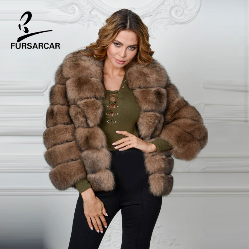 FURSARCAR Novo Estilo de Inverno Real da Pele De Fox das Mulheres Listrado Sable cor Casacos de Moda Real Natural de Pele De Raposa Grande Gola De Pele casaco