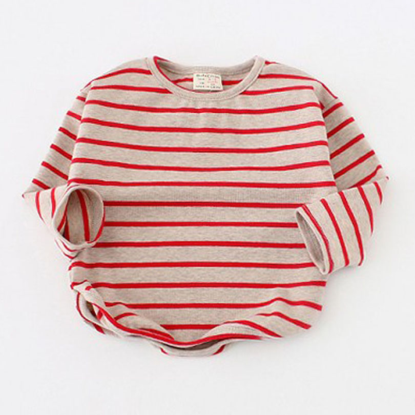 цена на Cotton Spring Kids Girls T-shirt Children Long Sleeve Round Collar Striped Tees Baby Girl O-Neck T Shirt Tee Tops Lovely Clothes