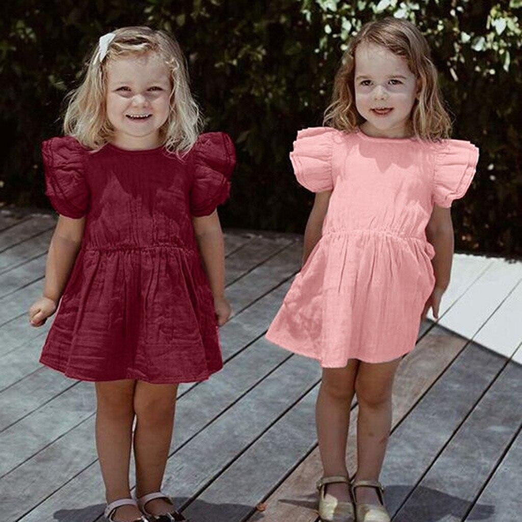 Summer Hot Sale NewToddler Baby Girls solid Flare dress evening party baby Dress petal sleeve baby dress  red vestido infantil