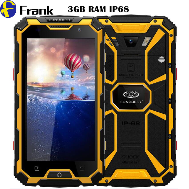 CONQUEST S8 IP68 Waterproof Phone PTT Android 5.1 Smartphone 6000mAh Battery GPS NFC 4G LTE 13MP 3GB RAM IP67 Shockproof phone