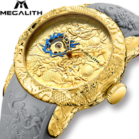 MEGALITH Gold Dragon Sculpture Men Automatic Mechanical Watches Top Brand Luxury Clock Waterproof Silicone Strap Erkek Kol Saati