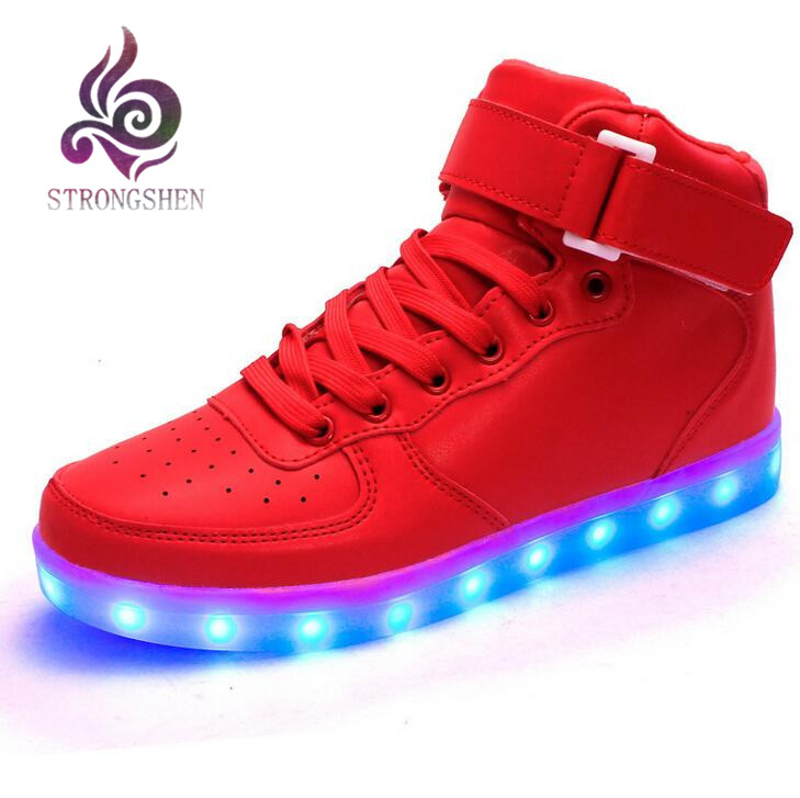 STRONGSHEN 새로운 USB 충전 어린이 운동 화 패션 빛나는 화려한 LED 조명 어린이 신발 캐주얼 플랫 소년 소녀 신발