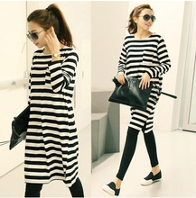 Fashion design summer style big size black striped T shirt maternity clothes cotton Pajama Sets for