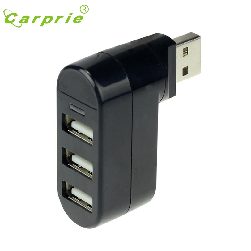 CARPRIE 3 Ports Hub USB 2 0 Mini Rotate Splitter Adapter for PC Notebook Laptop Jan16