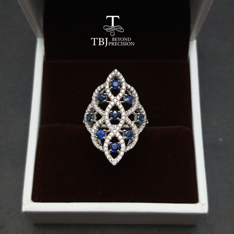 TBJ Elegant princess ring with 100 natural blue sapphire gemstone in 925 sterling silver gemstone ring