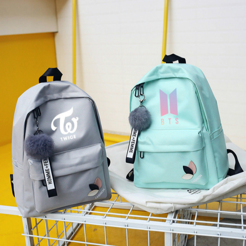Bts Twice Exo Got7 Backpacks Monsta X Wanna One Kpop K-pop K Pop Women Backpack School Bag BackPack For Teenager Girl Sac A Dos new pure au750 rose gold love ring lucky cute letter ring 1 13 1 23g hot sale