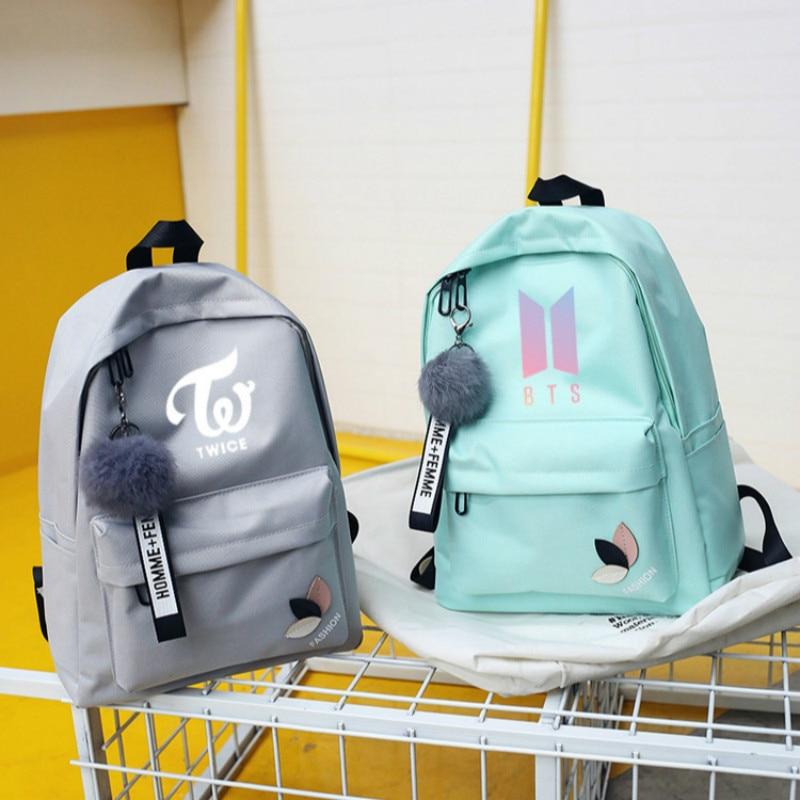 Bts dos veces Exo Got7 mochilas para Monsta X quieres una Kpop las mujeres mochila bolso de escuela mochila para chica adolescente saco un dos
